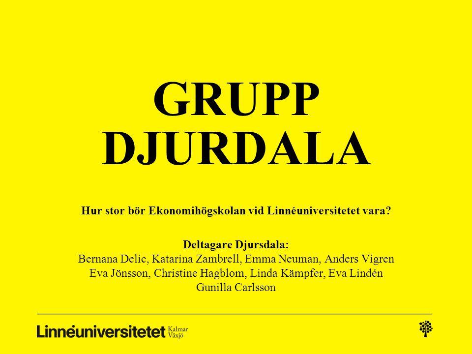 GRUPP DJURDALA Hur stor bör Ekonomihögskolan vid Linnéuniversitetet vara.