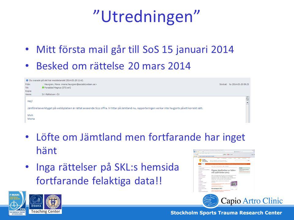 """""""Utredningen"""" • Mitt första mail går till SoS 15 januari 2014 • Besked om rättelse 20 mars 2014 • Löfte om Jämtland men fortfarande har inget hänt • I"""