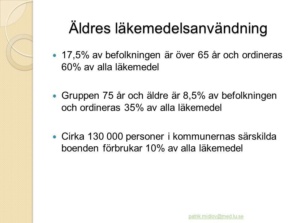 Boenden på äldreboende i Sverige (Medelvärden enligt Socialstyrelsen 1999)  Ålder 84 år  Antal diagnoser 3  Demens53%  Depression21%  Psykisk sjukdom10%  Antal läkemedel7,8  Neuroleptika 28%  Mindre lämpligt ◦ sömnmedel 15% ◦ lugnande17%  >3 psykofarmaka17%  >3 öka förvirring32% patrik.midlov@med.lu.se