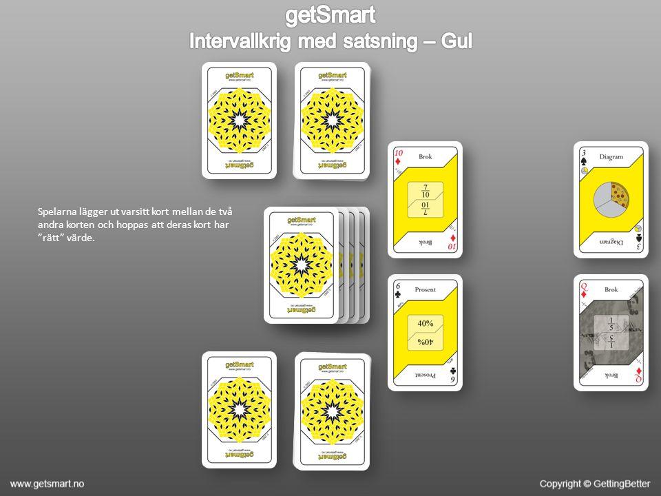 """Spelarna lägger ut varsitt kort mellan de två andra korten och hoppas att deras kort har """"rätt"""" värde."""