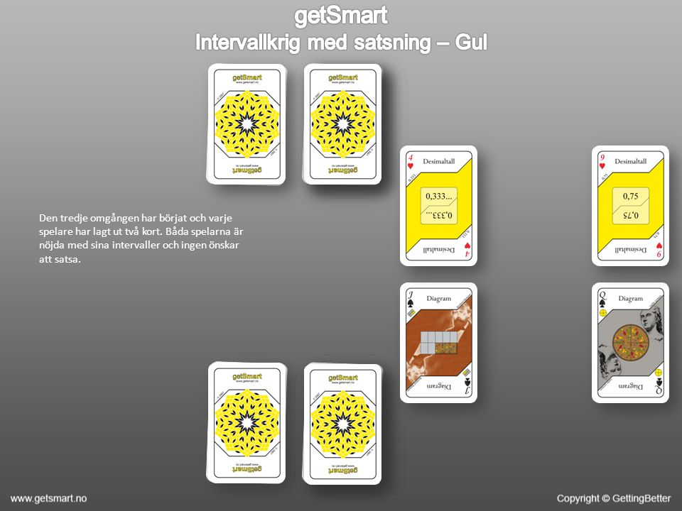 Den tredje omgången har börjat och varje spelare har lagt ut två kort. Båda spelarna är nöjda med sina intervaller och ingen önskar att satsa.
