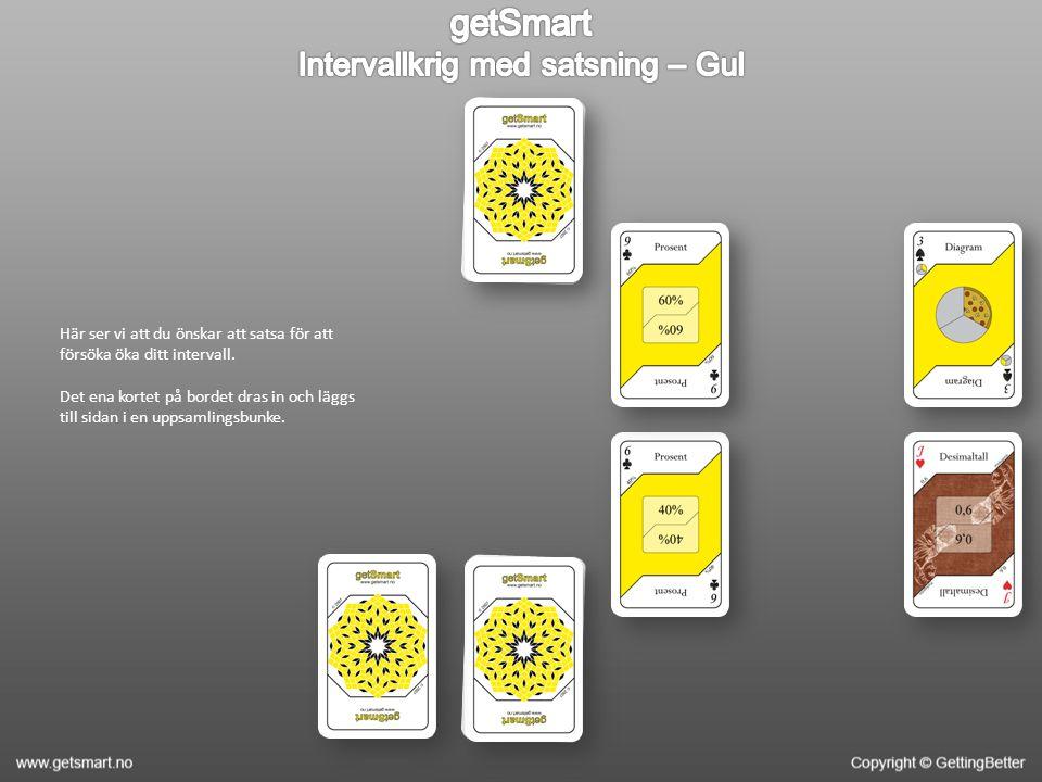 Nästa omgång börjar.Spelarna lägger igen ut två kort med lite avstånd emellan.