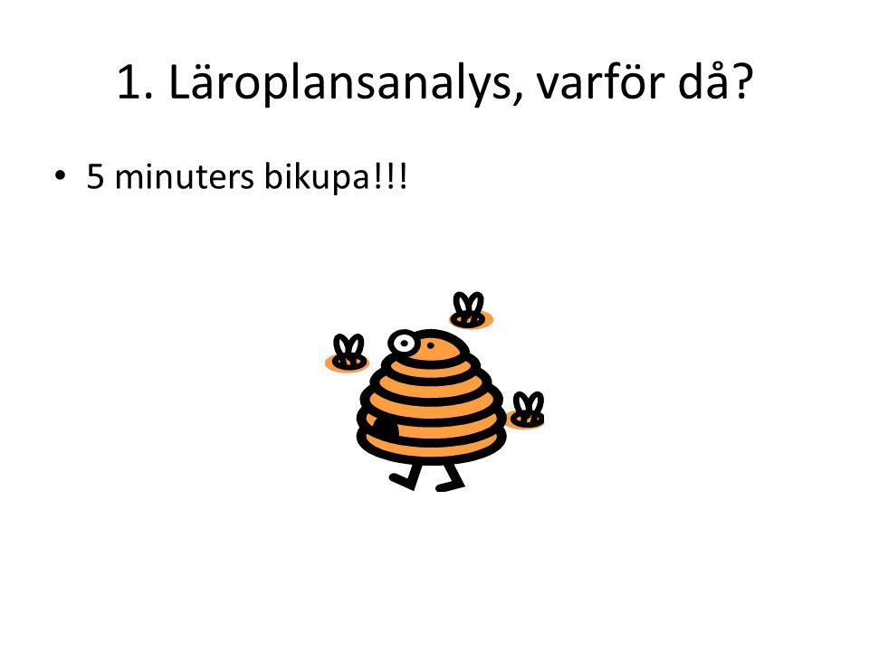 1. Läroplansanalys, varför då? • 5 minuters bikupa!!!