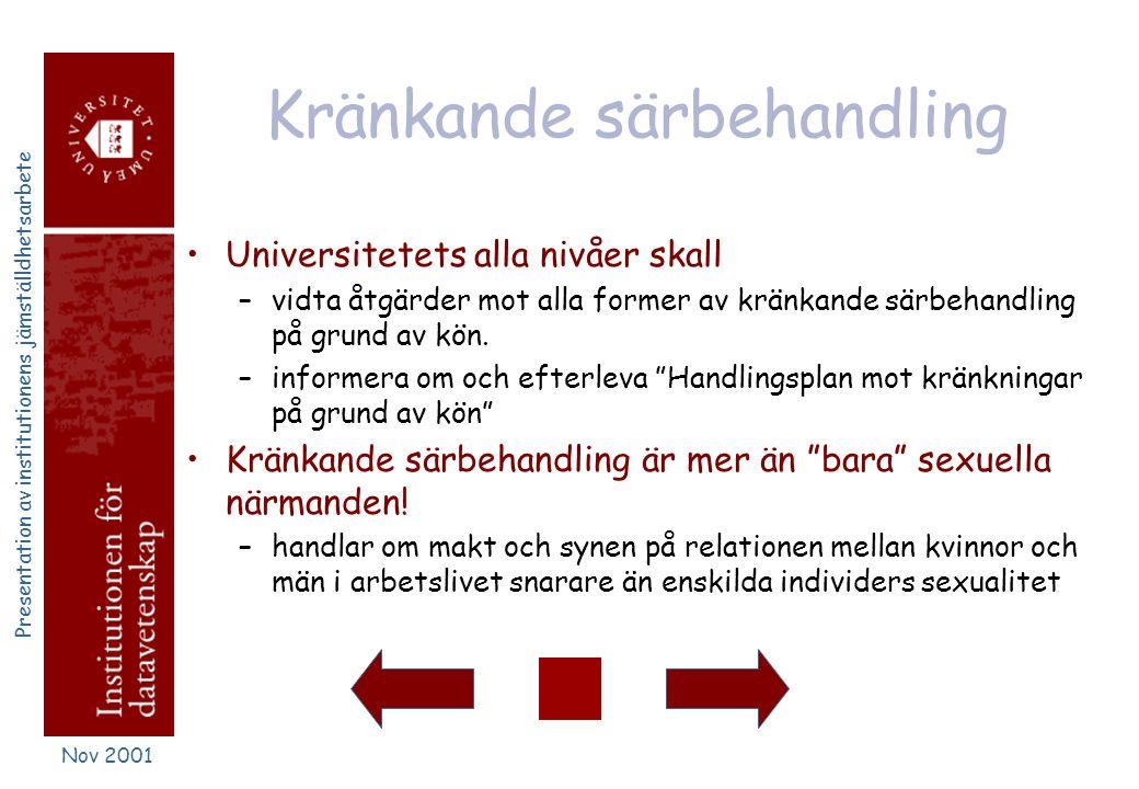 Presentation av institutionens jämställdhetsarbete Nov 2001 Lönefrågor •löneskillnader som beror på kön ska inte förekomma vid universitetet •universi