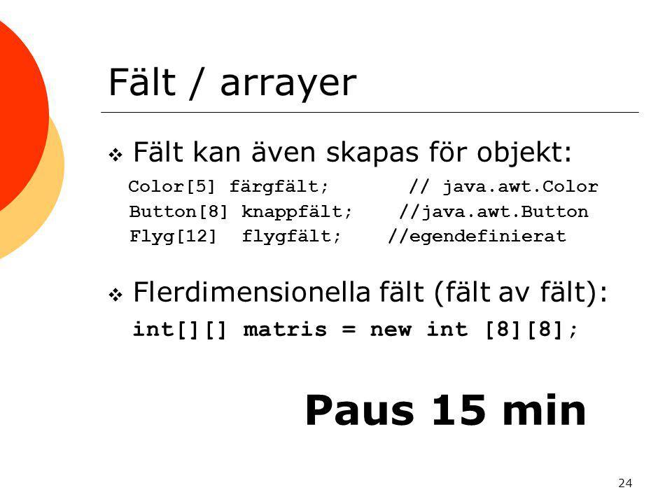 24 Fält / arrayer  Fält kan även skapas för objekt: Color[5] färgfält; // java.awt.Color Button[8] knappfält; //java.awt.Button Flyg[12] flygfält; //egendefinierat  Flerdimensionella fält (fält av fält): int[][] matris = new int [8][8]; Paus 15 min
