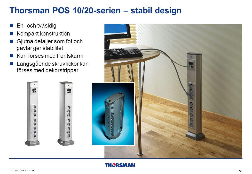 Thorsman POS 10/20-serien – stabil design 10 ISM - AW – 2005-10-14 - SE  En- och tvåsidig  Kompakt konstruktion  Gjutna detaljer som fot och gavlar ger stabilitet  Kan förses med frontskärm  Längsgående skruvfickor kan förses med dekorstrippar