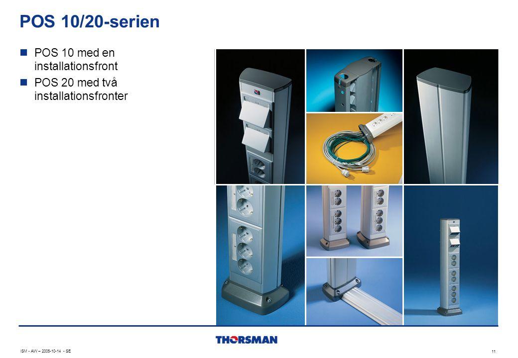 POS 10/20-serien 11 ISM - AW – 2005-10-14 - SE  POS 10 med en installationsfront  POS 20 med två installationsfronter