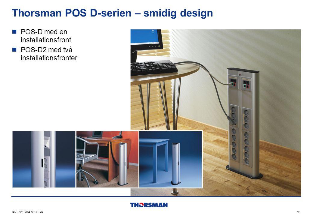 Thorsman POS D-serien – smidig design 12 ISM - AW – 2005-10-14 - SE  POS-D med en installationsfront  POS-D2 med två installationsfronter