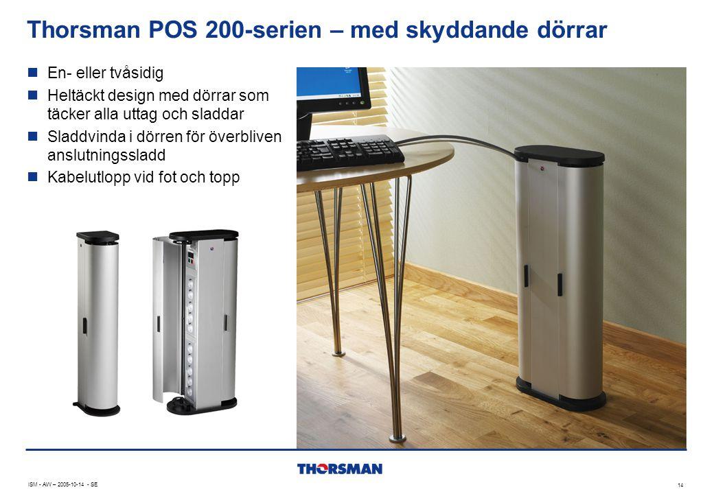 Thorsman POS 200-serien – med skyddande dörrar 14 ISM - AW – 2005-10-14 - SE  En- eller tvåsidig  Heltäckt design med dörrar som täcker alla uttag o