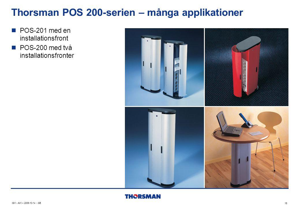 15 ISM - AW – 2005-10-14 - SE Thorsman POS 200-serien – många applikationer  POS-201 med en installationsfront  POS-200 med två installationsfronter