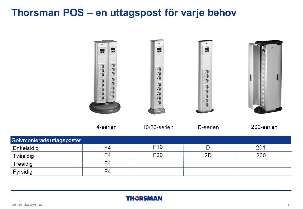 Thorsman POS – en uttagspost för varje behov Golvmonterade uttagsposter Enkelsidig Tvåsidig Tresidig Fyrsidig ISM - AW – 2005-09-12 – SE 3 4-serien 10/20-serien D-serien 200-serien F4 F10 F20 D 2D 201 200