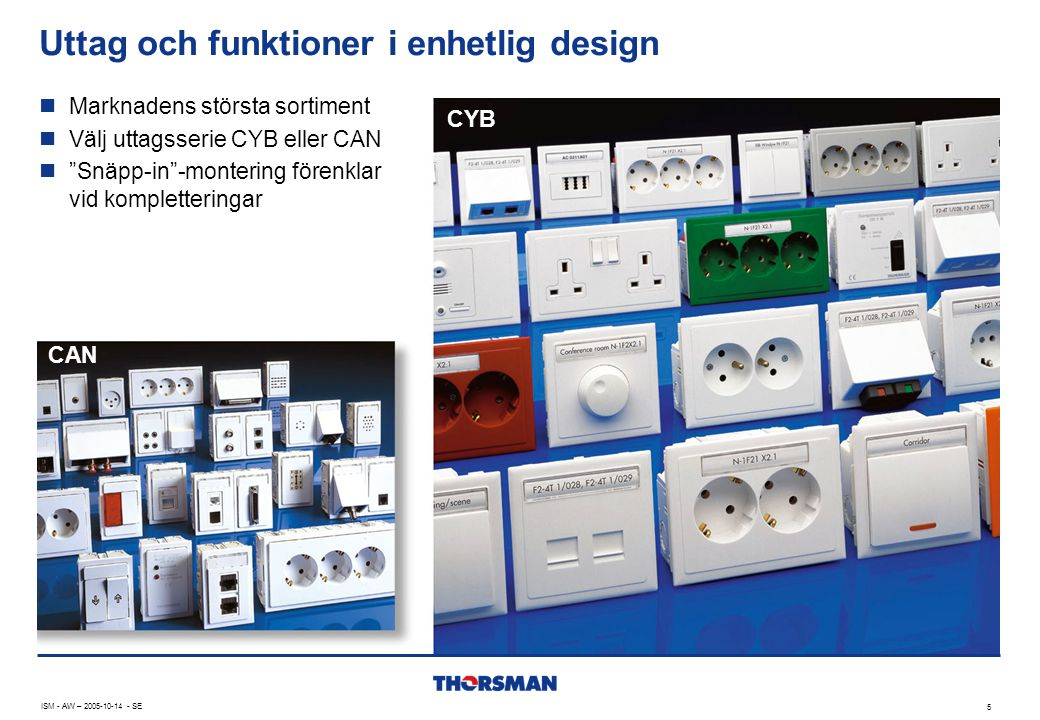 """Uttag och funktioner i enhetlig design CYB 5 ISM - AW – 2005-10-14 - SE  Marknadens största sortiment  Välj uttagsserie CYB eller CAN  """"Snäpp-in""""-m"""