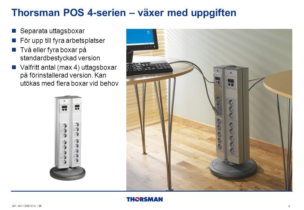 Thorsman POS 4-serien – växer med uppgiften ISM - AW – 2005-10-14 - SE 8  Separata uttagsboxar  För upp till fyra arbetsplatser  Två eller fyra box