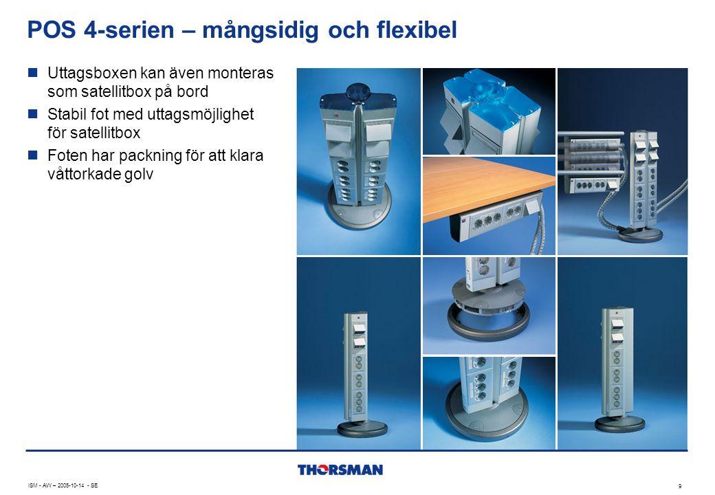 POS 4-serien – mångsidig och flexibel ISM - AW – 2005-10-14 - SE 9  Uttagsboxen kan även monteras som satellitbox på bord  Stabil fot med uttagsmöjlighet för satellitbox  Foten har packning för att klara våttorkade golv