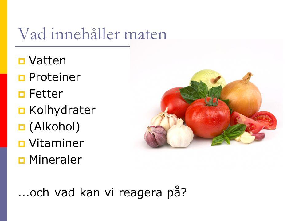 Vad innehåller maten  Vatten  Proteiner  Fetter  Kolhydrater  (Alkohol)  Vitaminer  Mineraler...och vad kan vi reagera på?