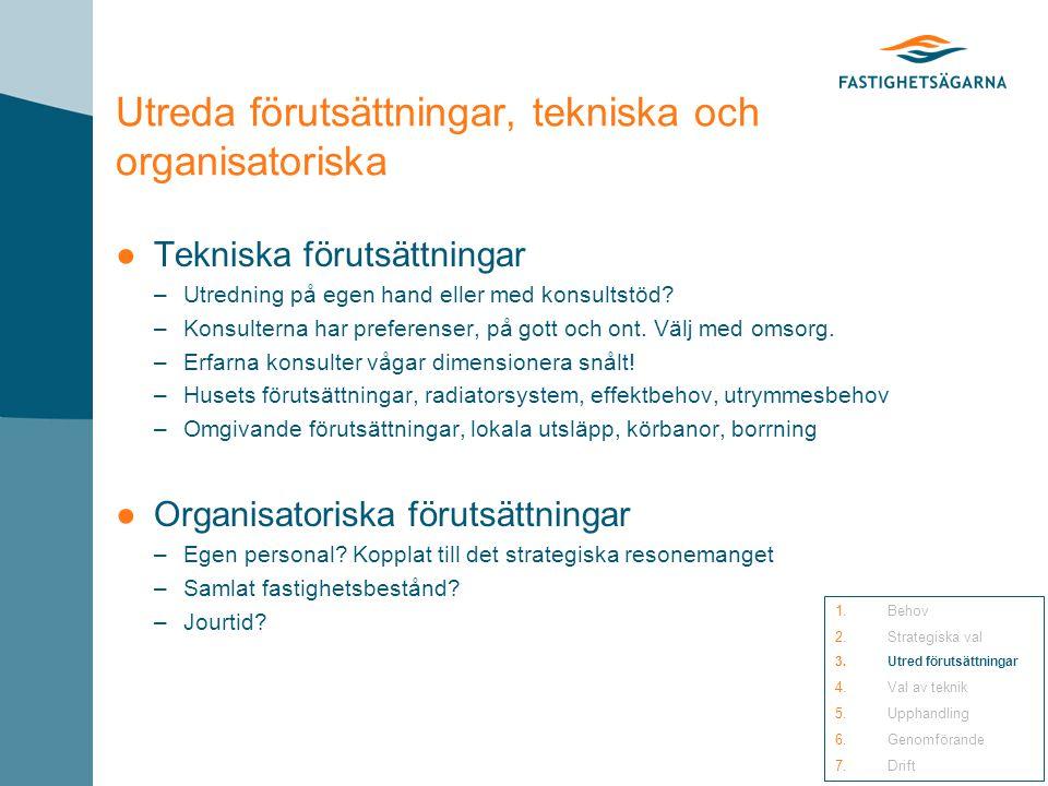 Utreda förutsättningar, tekniska och organisatoriska ●Tekniska förutsättningar –Utredning på egen hand eller med konsultstöd.