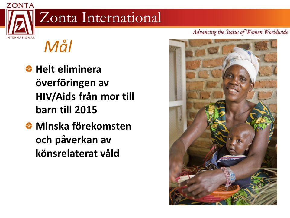 Mål Helt eliminera överföringen av HIV/Aids från mor till barn till 2015 Minska förekomsten och påverkan av könsrelaterat våld