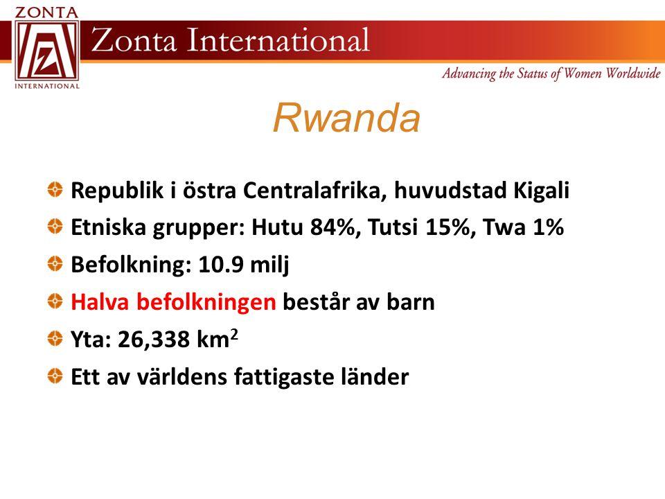 Rwanda Republik i östra Centralafrika, huvudstad Kigali Etniska grupper: Hutu 84%, Tutsi 15%, Twa 1% Befolkning: 10.9 milj Halva befolkningen består av barn Yta: 26,338 km 2 Ett av världens fattigaste länder