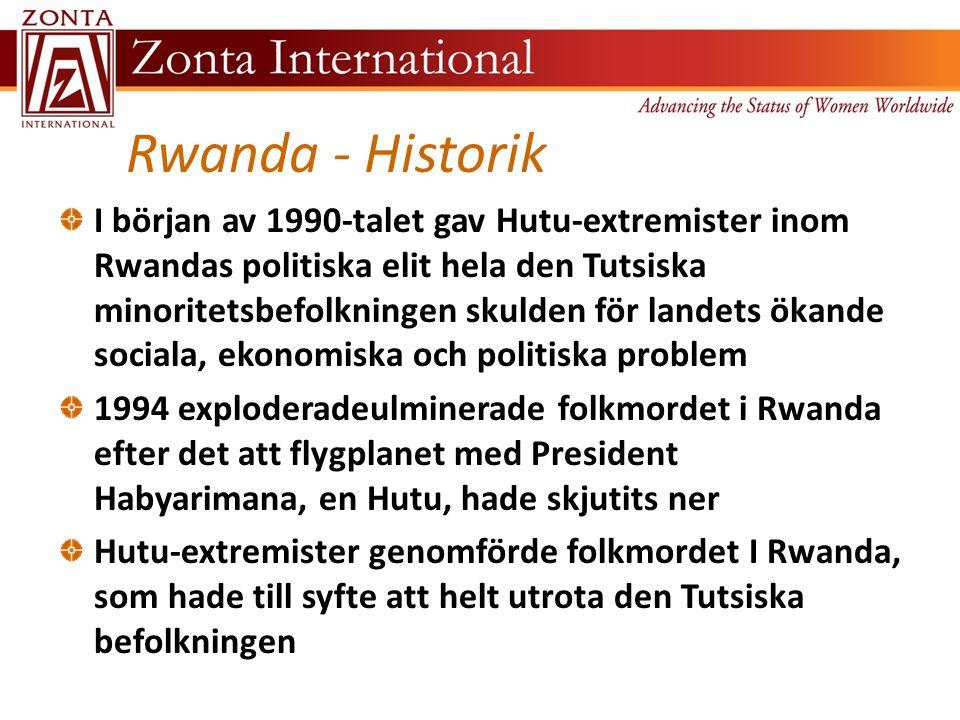 Rwanda - Historik I början av 1990-talet gav Hutu-extremister inom Rwandas politiska elit hela den Tutsiska minoritetsbefolkningen skulden för landets ökande sociala, ekonomiska och politiska problem 1994 exploderadeulminerade folkmordet i Rwanda efter det att flygplanet med President Habyarimana, en Hutu, hade skjutits ner Hutu-extremister genomförde folkmordet I Rwanda, som hade till syfte att helt utrota den Tutsiska befolkningen