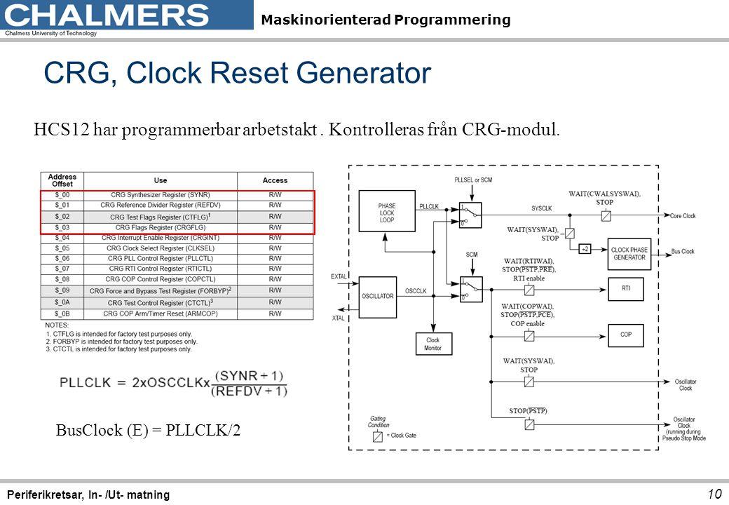 Maskinorienterad Programmering CRG, Clock Reset Generator 10 Periferikretsar, In- /Ut- matning HCS12 har programmerbar arbetstakt. Kontrolleras från C