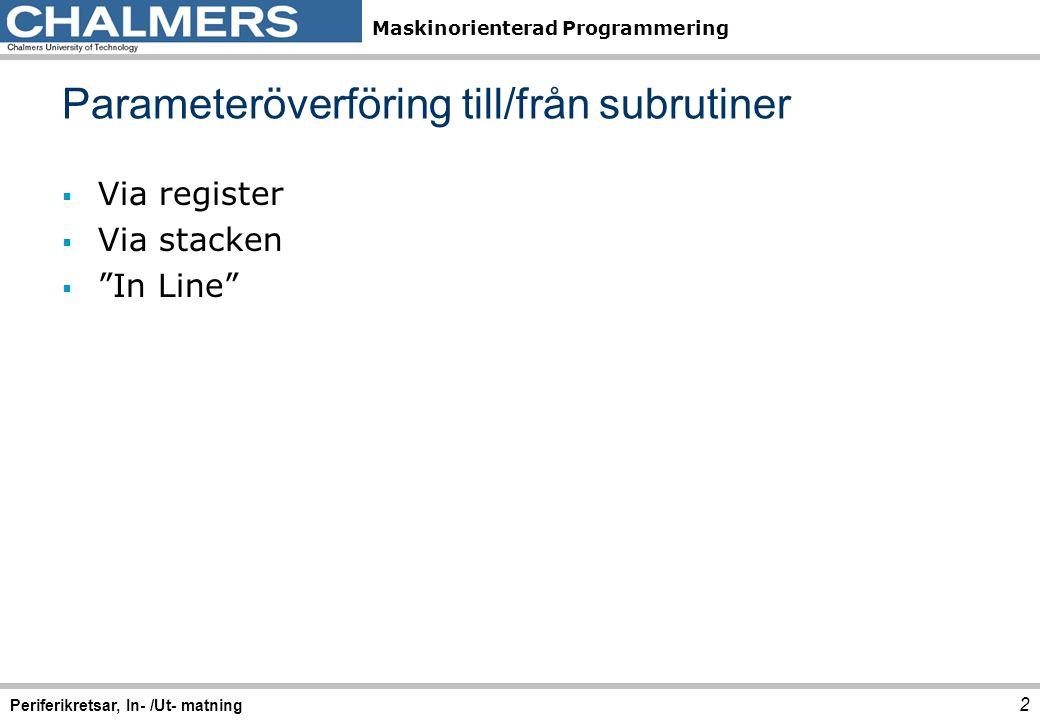 """Maskinorienterad Programmering  Via register  Via stacken  """"In Line"""" Parameteröverföring till/från subrutiner 2 Periferikretsar, In- /Ut- matning"""