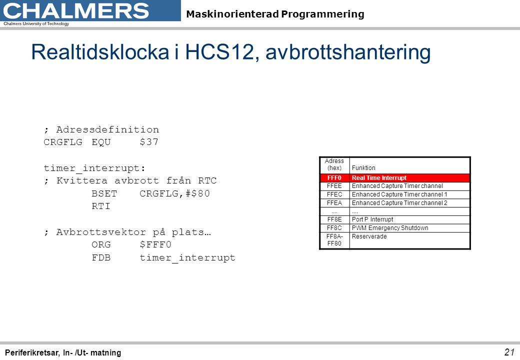 Maskinorienterad Programmering Realtidsklocka i HCS12, avbrottshantering 21 Periferikretsar, In- /Ut- matning ; Adressdefinition CRGFLGEQU$37 timer_in
