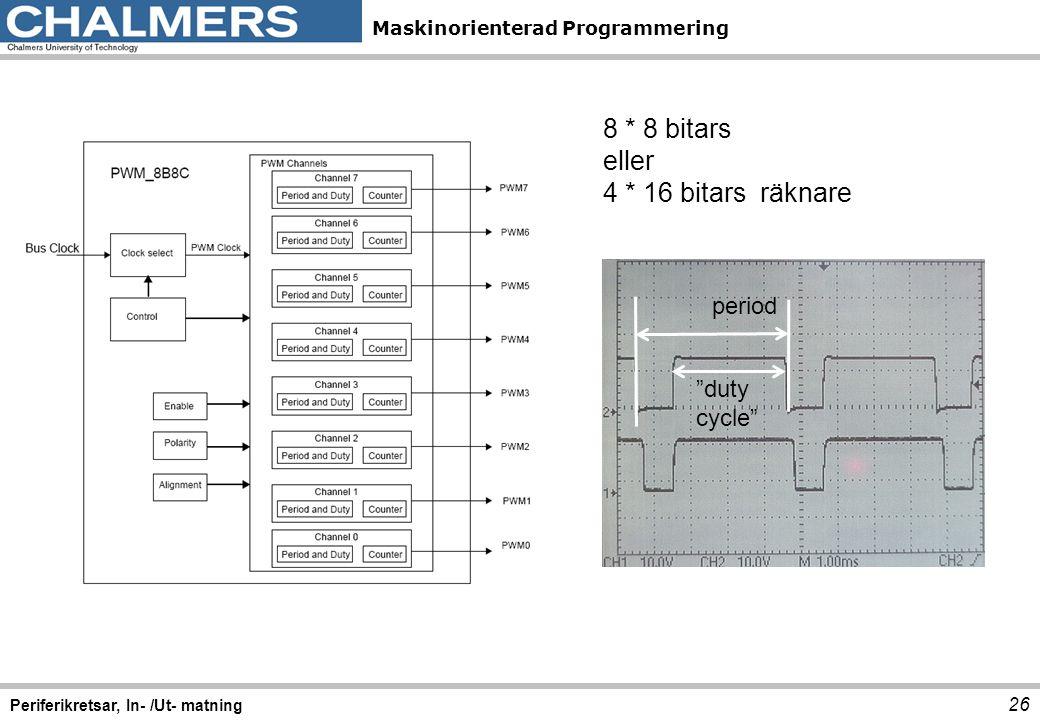 """Maskinorienterad Programmering 26 Periferikretsar, In- /Ut- matning 8 * 8 bitars eller 4 * 16 bitars räknare period """"duty cycle"""""""