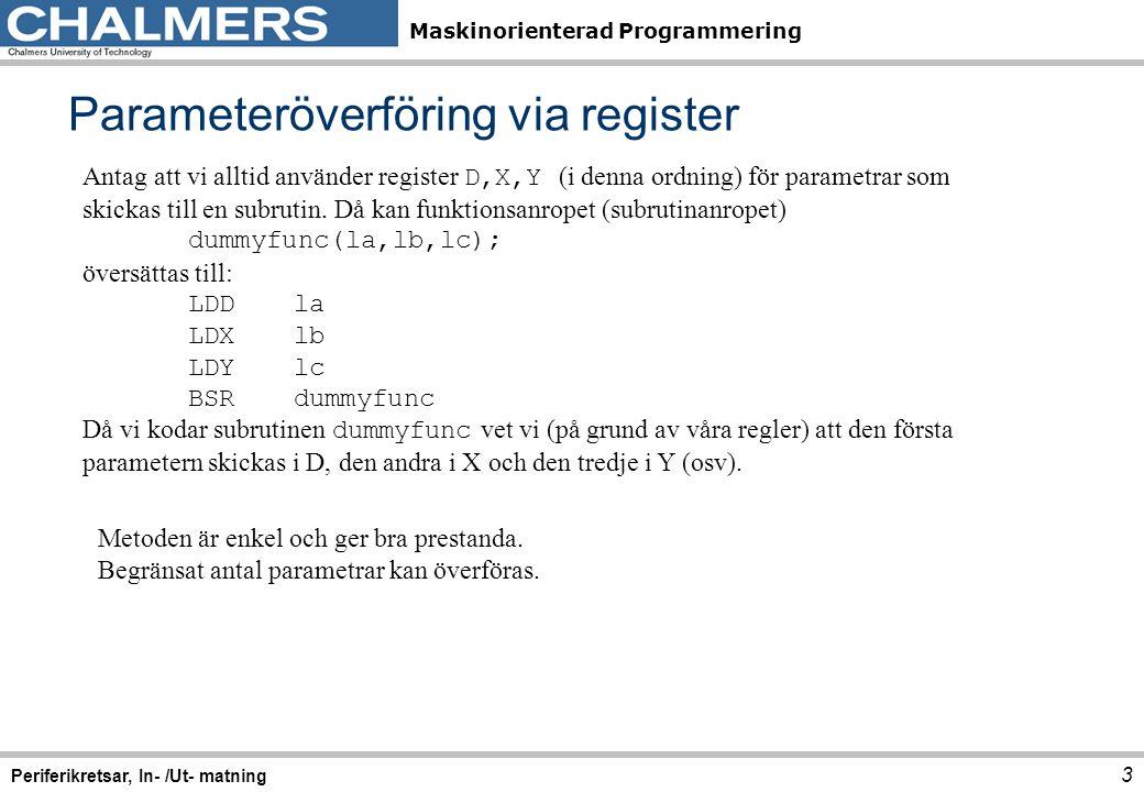 Maskinorienterad Programmering Returvärden via register 4 Periferikretsar, In- /Ut- matning Register väljs, beroende på returvärdets typ (storlek), HCS12-exempel StorlekBenämningC-typRegister 8 bitarbytecharB 16 bitarwordshort intD 32 bitarlonglong intY/D En regel (konvention) bestäms och följs därefter vid kodning av samtliga subrutiner
