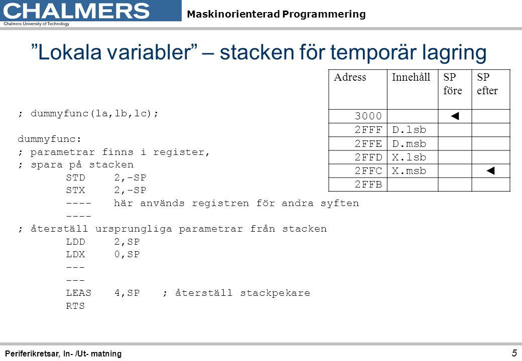 Maskinorienterad Programmering 16 Periferikretsar, In- /Ut- matning Clock Reset Generator (CRG) Offset76543210MnemonicNamn $0 0 R00 SYN5SYN4SYN3SYN2SYN1SYN0SYNR Synthesizer Register W $0 1 R0000 REFDV 3 REFDV 2 REFDV 1 REFDV 0 REFDV Reference Divide Register W $0 2 R 00000000 CTFLG *)Test Flags Register W $0 3 R RTIFPORFLVRF LOCKI F LOCKSCMIESCMIF SCM CRGFLG Flags Register W $0 4 R RTIE 00 LOCKI E 00 SCMIE 0 CRGINT Interrupt Enable Register W $0 5 R PLLSEL PSTP SYSWA I ROAWAIPLLWAICWAIRTIWAICOPWAI CLKSEL Clock Select Register W $0 6 R CMEPLLONAUTOAOQ 0 PREPCESCMEPLLCTL PLL Control Register W $0 7 R 0 RTR6RTR5RTR4RTR3RTR2RTR1RTR0RTICTL RTI Control Register W $0 8 R WCOPRSBCK 000 CR2CR1CR0COPCTL COP Control Register W $0 9 R 00000000 FORBYP *)Force and Bypass Test Register W $0 A R 00000000 CTCTL *)Test Control Register W $0 B R 00000000 ARMCOP COP Arm/Timer Reset W Bit7Bit6Bit5Bit4Bit3Bit2Bit1Bit0 $34 $35 $36 $37 $38 $39 $3A $3B $3C $3D $3E $3F Algoritm, initiering 2.