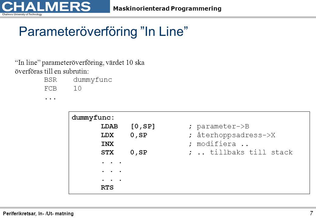 Maskinorienterad Programmering Beräkning av tidbas 18 Periferikretsar, In- /Ut- matning (Se även exempel i Stencil 2 ) Den bästa approximationen har vi för RTR = 100 1001 = $49, som medför: 10x2 13 = 81920 Eftersom detta värde är något större än det exakta, kommer vi att få en något längre periodtid, nämligen: avbrottsfrekvens = 8×10 6 / 81920 = 97.656 Hz vilket ger periodtiden: 0.01024 s = 10,24 ms.