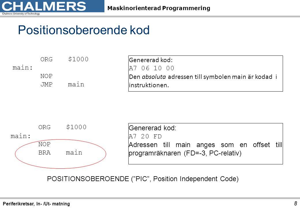 Maskinorienterad Programmering Positionsoberoende kod 8 Periferikretsar, In- /Ut- matning ORG$1000 main: NOP JMPmain Genererad kod: A7 06 10 00 Den ab