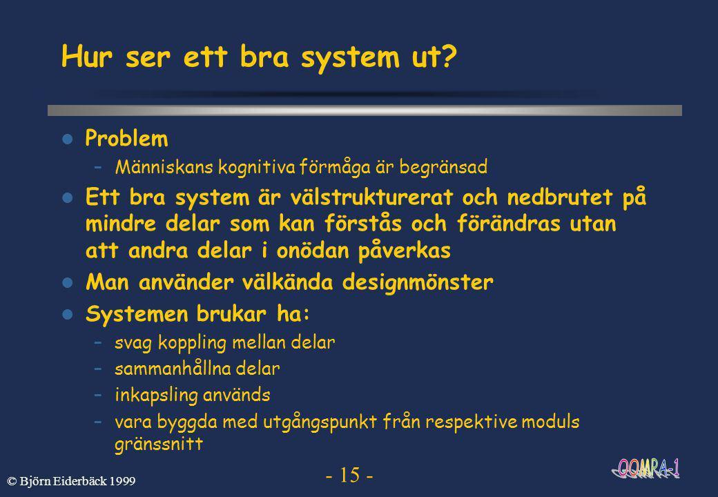 - 15 - © Björn Eiderbäck 1999 Hur ser ett bra system ut.