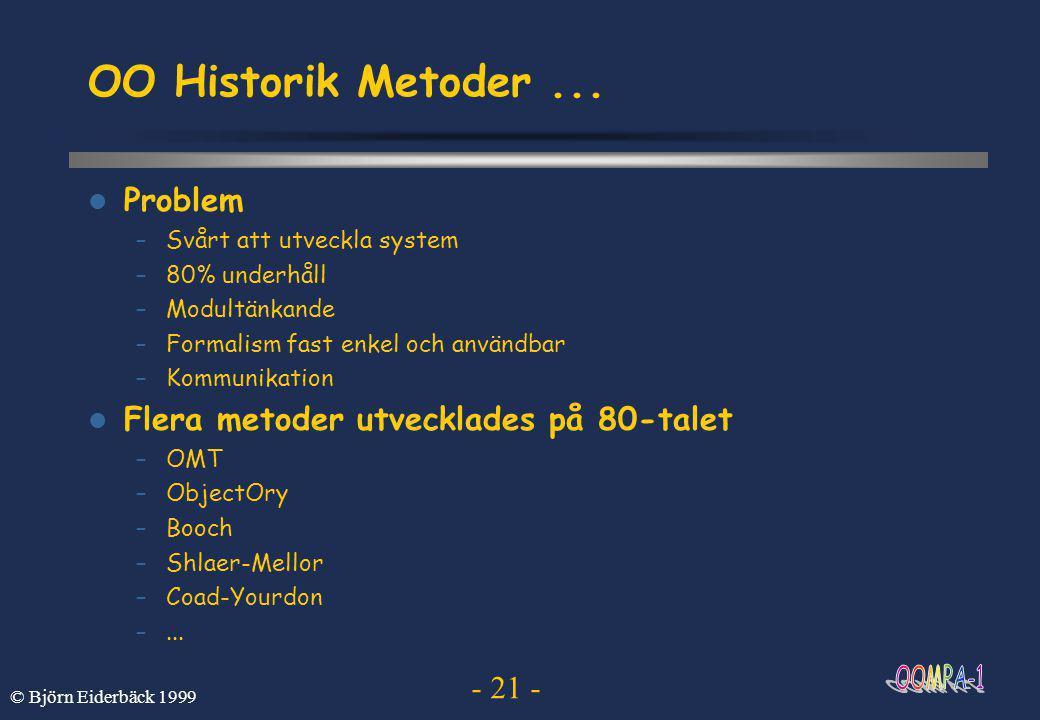 - 21 - © Björn Eiderbäck 1999 OO Historik Metoder...