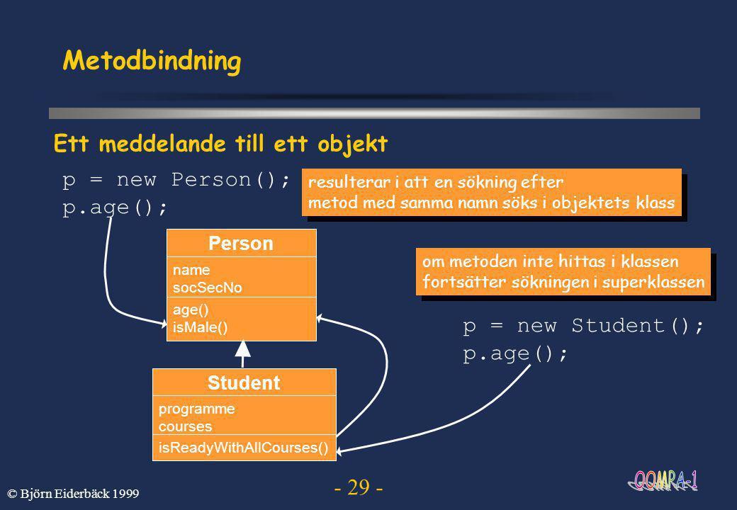 - 29 - © Björn Eiderbäck 1999 Metodbindning om metoden inte hittas i klassen fortsätter sökningen i superklassen om metoden inte hittas i klassen fortsätter sökningen i superklassen Ett meddelande till ett objekt Student programme courses isReadyWithAllCourses() Person name socSecNo age() isMale() resulterar i att en sökning efter metod med samma namn söks i objektets klass resulterar i att en sökning efter metod med samma namn söks i objektets klass p = new Person(); p.age(); p = new Student(); p.age();