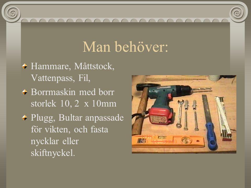 Man behöver: Hammare, Måttstock, Vattenpass, Fil, Borrmaskin med borr storlek 10, 2 x 10mm Plugg, Bultar anpassade för vikten, och fasta nycklar eller skiftnyckel.