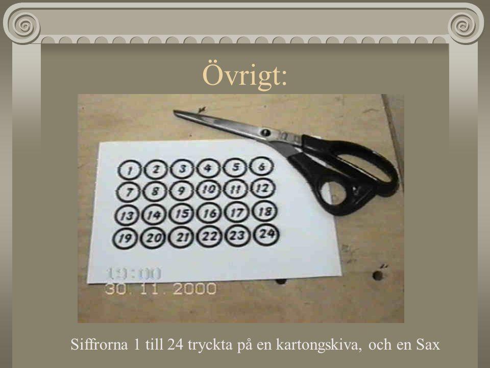 Övrigt: Siffrorna 1 till 24 tryckta på en kartongskiva, och en Sax