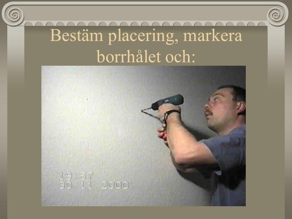 Bestäm placering, markera borrhålet och: