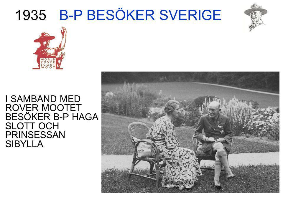 B-P BESÖKER SVERIGE I SAMBAND MED ROVER MOOTET BESÖKER B-P HAGA SLOTT OCH PRINSESSAN SIBYLLA 1935