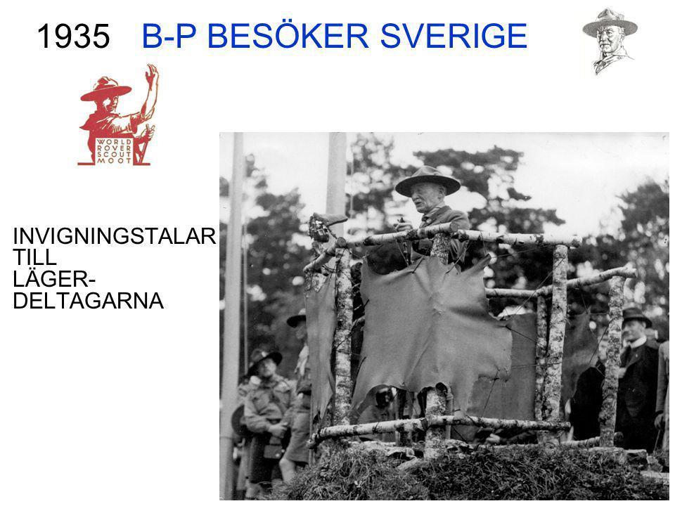 B-P BESÖKER SVERIGE INVIGNINGSTALAR TILL LÄGER- DELTAGARNA 1935
