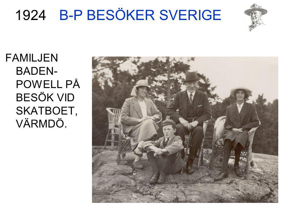 FAMILJEN BADEN- POWELL PÅ BESÖK VID SKATBOET, VÄRMDÖ. 1924