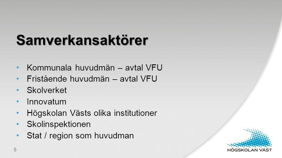 •Kommunala huvudmän – avtal VFU •Fristående huvudmän – avtal VFU •Skolverket •Innovatum •Högskolan Västs olika institutioner •Skolinspektionen •Stat /