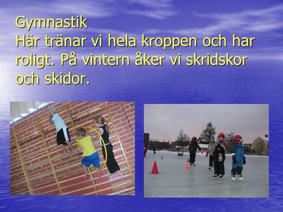 Gymnastik Här tränar vi hela kroppen och har roligt. På vintern åker vi skridskor och skidor.