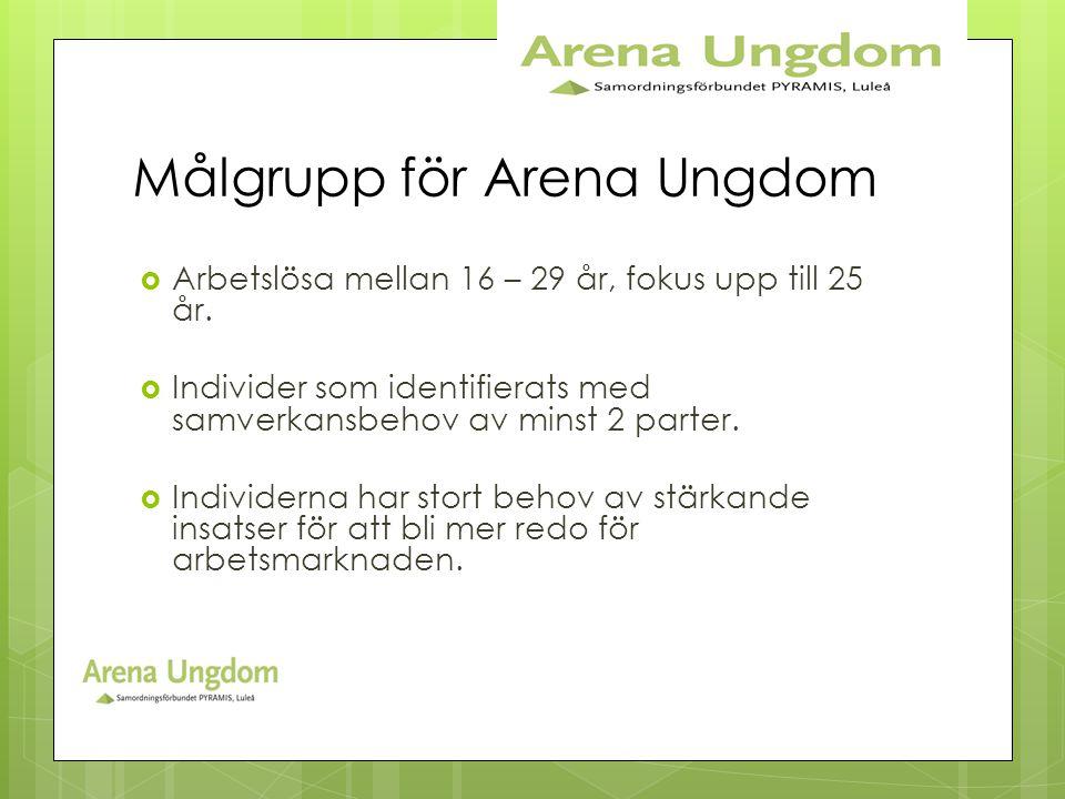 Målgrupp för Arena Ungdom  Arbetslösa mellan 16 – 29 år, fokus upp till 25 år.  Individer som identifierats med samverkansbehov av minst 2 parter. 