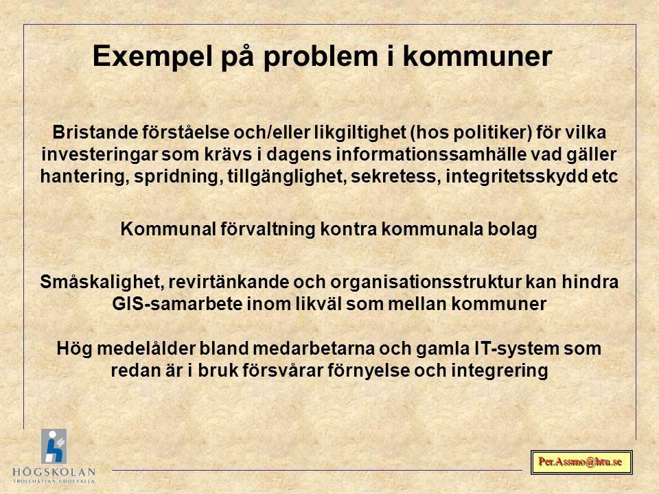 Per.Assmo@htu.se Exempel på problem i kommuner Bristande förståelse och/eller likgiltighet (hos politiker) för vilka investeringar som krävs i dagens