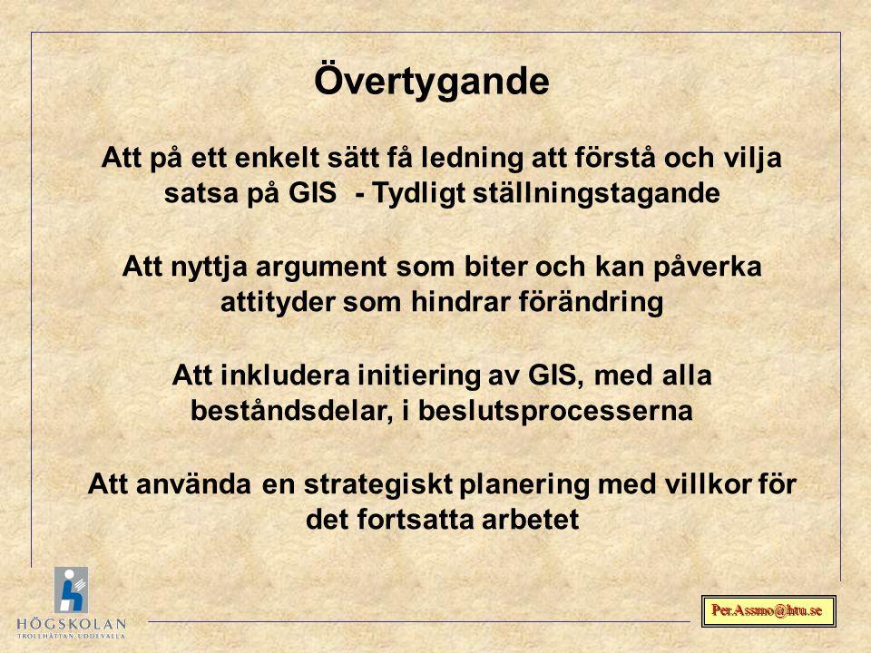 Per.Assmo@htu.se Övertygande Att på ett enkelt sätt få ledning att förstå och vilja satsa på GIS - Tydligt ställningstagande Att nyttja argument som b