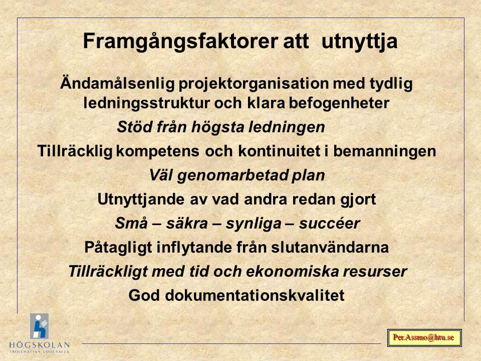 Per.Assmo@htu.se Ändamålsenlig projektorganisation med tydlig ledningsstruktur och klara befogenheter Stöd från högsta ledningen Tillräcklig kompetens
