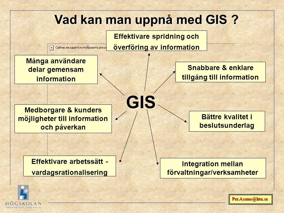 Per.Assmo@htu.se GIS Bättre kvalitet i beslutsunderlag Effektivare arbetssätt - vardagsrationalisering Integration mellan förvaltningar/verksamheter S