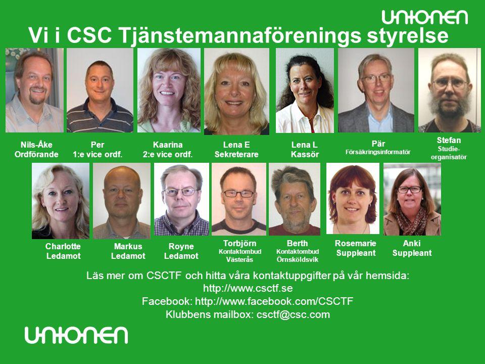 Vi i CSC Tjänstemannaförenings styrelse Nils-Åke Ordförande Lena E Sekreterare Lena L Kassör Pär Försäkringsinformatör Per 1:e vice ordf. Charlotte Le