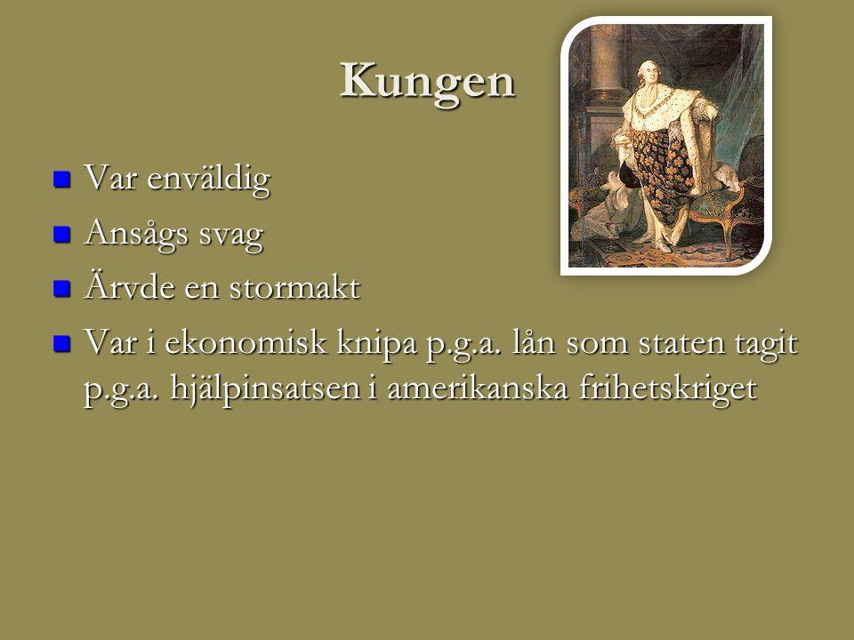 Kungen  Var enväldig  Ansågs svag  Ärvde en stormakt  Var i ekonomisk knipa p.g.a.
