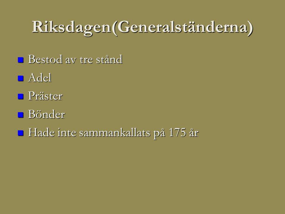 Riksdagen(Generalständerna)  Bestod av tre stånd  Adel  Präster  Bönder  Hade inte sammankallats på 175 år